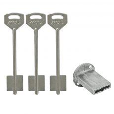 Kit con chiavi grezze e canotto guida per serrature a doppia mappa. Chiave formato lungo - KIT - CH110